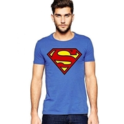 Mardaz Royal Blue Cotton Superman Tshirt For Men