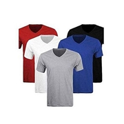 Mardaz Pack of 5 - Multicolor Cotton V-Neck T-Shirts for Men