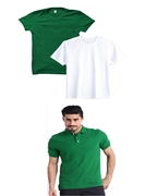 Pack of Three White & Green T-Shirts for Men