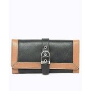 House of Leather Black & Mustard Women Leather Purse