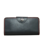 House of Leather Black Contrast Leather Travel Wallet