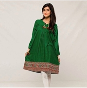 Mardaz 14 August - Azadi Green Cotton Embroidered Kurti For Women