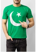 Mardaz Green Cotton Pakistani Flag Tshirt For Men