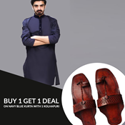 Buy Pack Of 2 Blue Black Mens Kurta With kolhapuri SKU-SR-VT-007  online