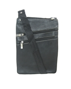 House of Leather Black Leather Slim Cross body bag