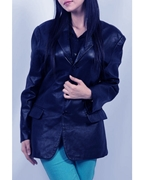 Navy Blue  Real Sheep Leather Coat for Women