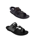 Pack of Two Black Leather Sandals