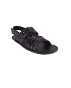 Black Leather Sandal With Buckle For Men