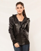 Buy Black Sheep Leather Jacket for Women with Hoodie  online