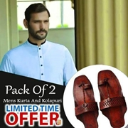 Special Pack Of 2 Sky Blue Mens Kurta With kolhapuri