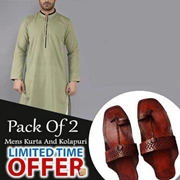 Special Pack Of 2 Olive Mens Kurta With kolhapuri