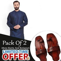 Special Pack Of 2 Blue Round Coller  Mens Kurta With kolhapuri