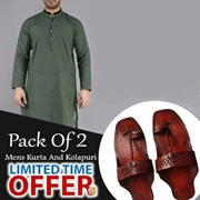 Special Pack Of 2 Green Mens Kurta With kolhapuri