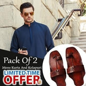 Buy Special Pack Of 2 For Mens-Blue Kurta With kolhapuri  online