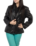 Black Sheep Leather Two Button Coat for Women