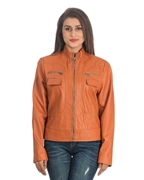 Tan PU Leather Stylish Jacket for Women