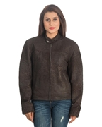 Choco Brown Sheep Leather Jacket for Women