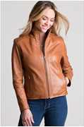 Tan PU Leather Staright  Jacket for Women