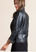 Buy Black PU Leather Staright  Jacket for Women  online