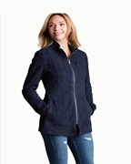 Navy Blue Sheep Leather Staright  Long Jacket for Women