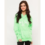 Green Pullover Embroided Hoodie for Women