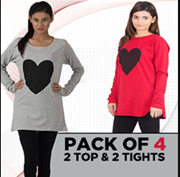 Pack Of 4 - 2 Top&2 Black Tights