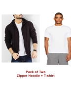 Pack of Two Black Zipper Hoodie and White Tshirt for Men