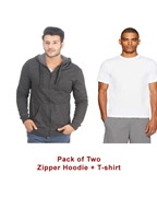 Pack of Two Charcoal Zipper Hoodie and White Tshirt for Men