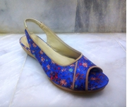Blue Floral Printed Wedge Sandal for Women - W200