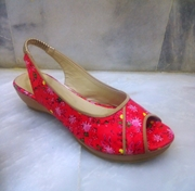 Red Floral Printed Wedge Sandal for Women - W201