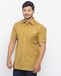 ELEMENT CAMEL COLOUR CAMP SHIRT WITH HAND WOVEN FABRIC EJ-003