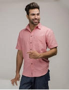 ELEMENT CORAL PINK IRISH LINEN SHIRT EJ-005