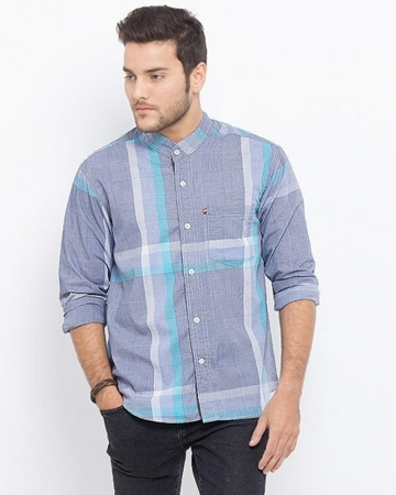 Buy ELEMENT GREY 100% COTTTON BAND COLLAR LONG SLEEVE SCHEDULES SHIRT EJ-006  online