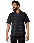 ELEMENT MENS 100% COTTON POLKA DOT   SHORT SLEEVES BLACK CAMP SHIRT EJ-011