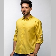 ELEMENT LEMON CURRY COLOUR MEN'S  LONG SLEEVE LINES SHIRT EJ-017