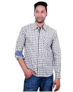 ELEMENT MEN'S 100% COTTON LONG SLEEVE OFF WHITE PLAID SHIRT EJ-026