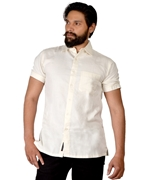 ELEMENT MENS COTTON HAND LOOM SHORT SLEEVES  SHIRT OFF WHITE  EJ-030