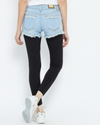 ELEMENT ICE BLUE DENIM FRAYED HOT PANTS EJ-049
