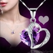 Purple Heart Rhinestone Necklace