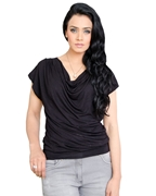 BLACK WOMEN'S COWL NECK TOP EJ-051