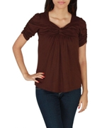 BROWN COTTON TUNIC WITH PLEATS OF FRONT EJ-052
