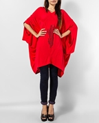 RED COTTON V NECK STYLISH PENGUIN TUNIC EJ-056