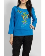 SKY BLUE COTTON KNITTED BUTTERFLY PRINTED CREW NECK FULL SLEEVE T SHIRT EJ-057