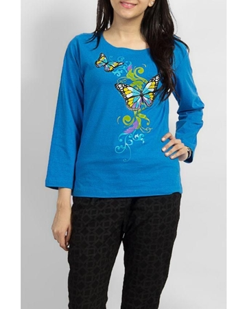 Buy SKY BLUE COTTON KNITTED BUTTERFLY PRINTED CREW NECK FULL SLEEVE T SHIRT EJ-057  online