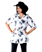 WOMEN'S BLACK FLORAL PRINTED WHITE COTTON LINEN SHIRT EJ-060