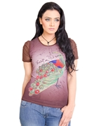 WOMEN'S PEACOCK INSPIRED PRINTED T - SHIRT EJ-065