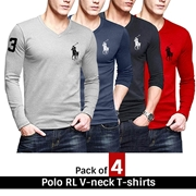 Pack of 4 Polo RL V-neck T-shirts