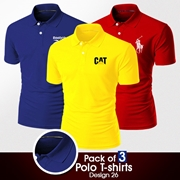 Pack of 3 Casual Polo T-shirts Design 26