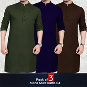 Pack of 3 Men's Multi Color Kurta-04