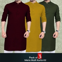 Pack of 3 Men's Multi Color Kurta-02